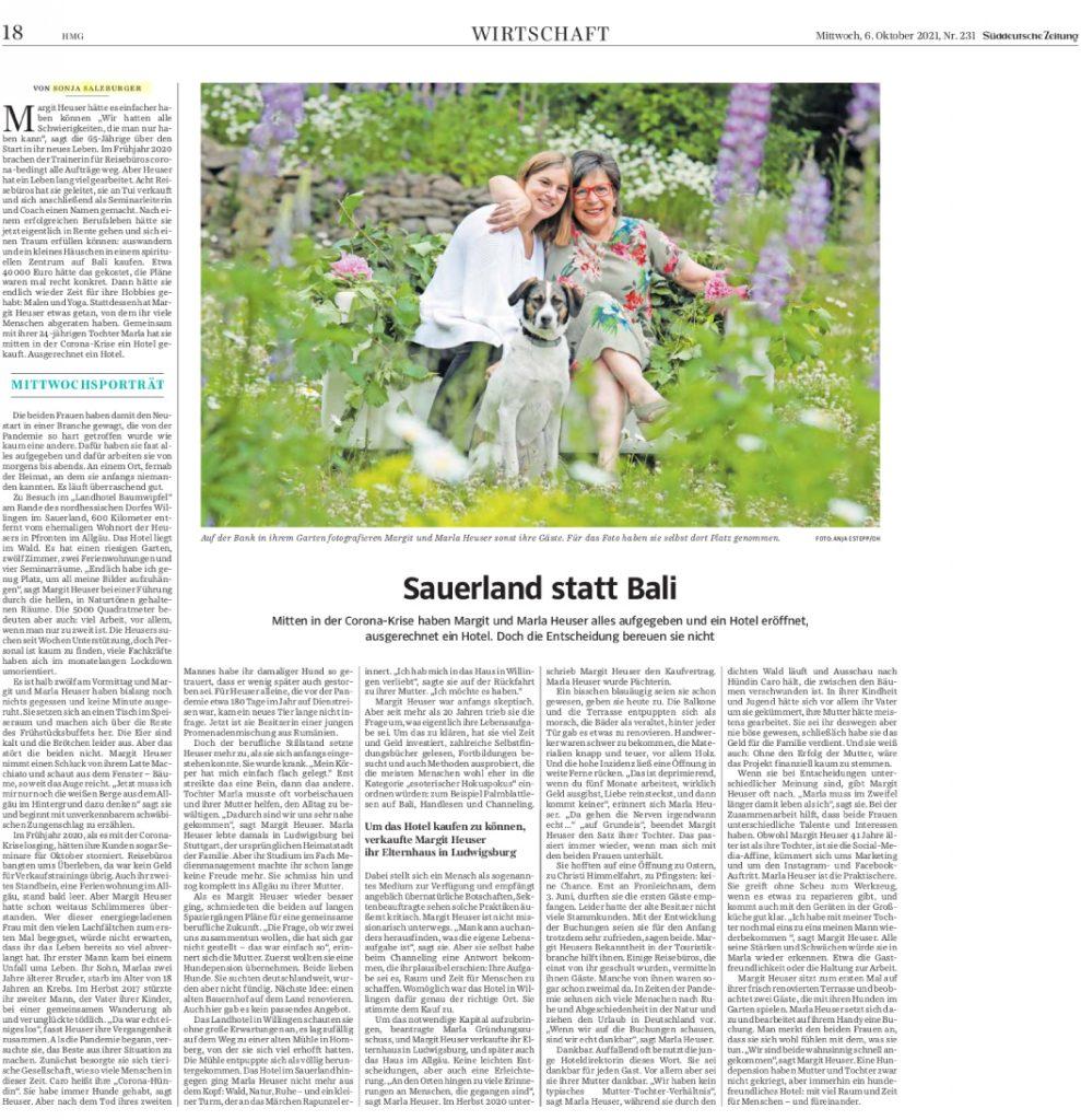 Artikel in der Süddeutschen Zeitung